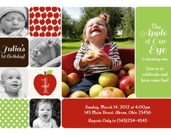 Apple Picking Kids Photo Birthday Party Invitations | Custom Design | Professionally Printed Card Stock | Boy Girl Twin Sibling Stationery