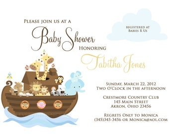 Noah's Ark Baby Shower Baptism Christening Birthday Invitations | Custom Design | Professionally Printed Card Stock | Boy Girl Twin Sibling
