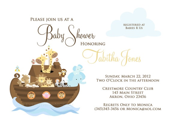 noah 39 s ark baby shower birthday invitation custom design printed
