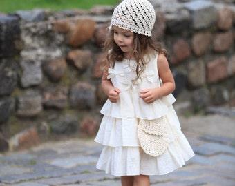 Girls ivory dress D23 summer cotton birthday baby infant bow ruffles flower girl dress /hmet/rusteam
