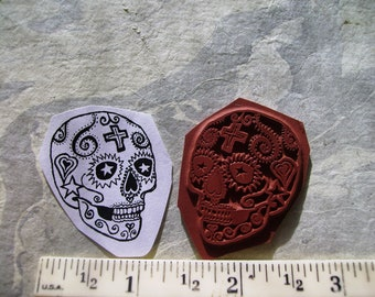 Dia de Los Muertos  Day of the dead  sugar skull 1 1/2 inches roughly dulces de calavra  rubber stamp un-mounted scrapbook  rubber stamping