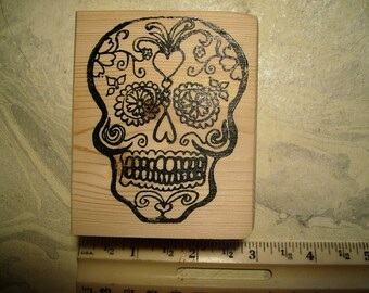 Dia de Los Muertos  Day of the dead skull No.4  rubber stamps wood mounted scrapbooking rubber stamping
