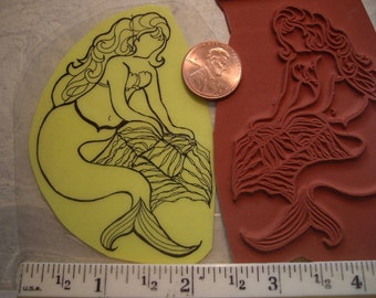 mermaid rubber stamp  un-mounted scrapbooking rubber stamping