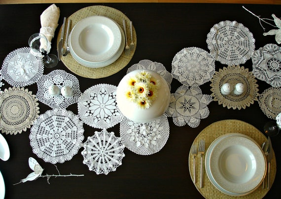 Eco Wedding Table Settings  MADE to ORDER Doily  Runner Wedding Table Decoration With Handcrocheted Vintage Doilies