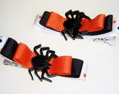 Spider Hair Clips for Halloween - black orange white with bow hair barrette