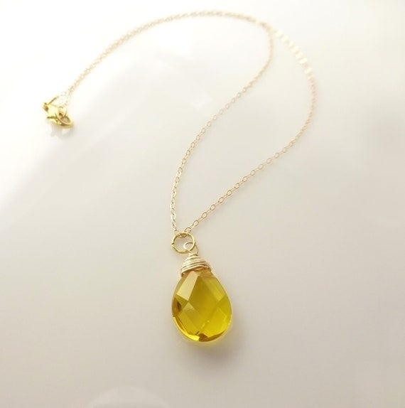 Yellow Quartz Tear Drop Necklace Honey Necklace Yellow