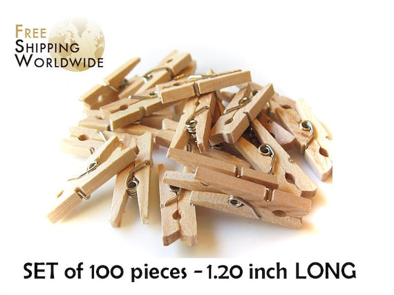 100 Mini Clothes Pins 1.20 inch - 30mm in lenght - Natural Wood Wooden Clothespins - Pegs - Clothespins Natural color from Beech wood