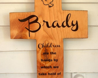 Pine Wood Cross Personalized Name with Dove and Quote Children Heaven  Baptism Boy Girl / Custom