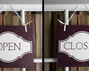 "Office door sign - Open Closed Sign Eggplant color Double Sided Hanging Wood  11""x9"" Decoration 1 double-sided Sign"