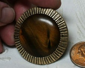 Antique Tiger Eye Celluloid and Brass Button