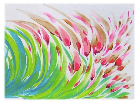 Abstract Flower Original Acrylic Painting - Modern Home Decor - Neon