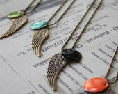 Long necklace. With big angel wing enameled colored charm ( several Colors available on demand).