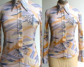 1970s Nautical Blouse / Sailing collared button down / small