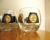 Vintage Roly Poly Coin Glasses, Mid Century Glassware, Mad Men style Glasses, Set of five glasses