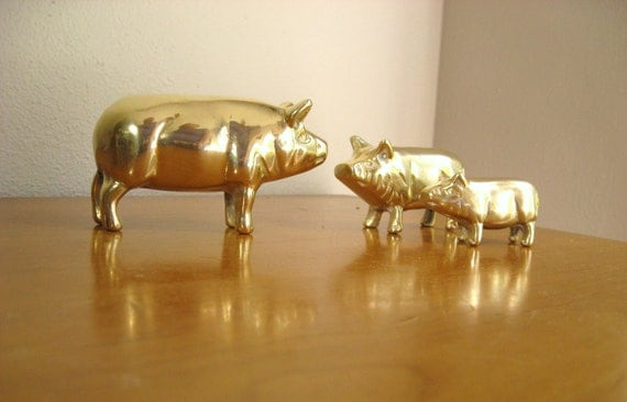 Vintage Brass Pig Figurines, Pig Statues, Hog, Farm Animal Collectible
