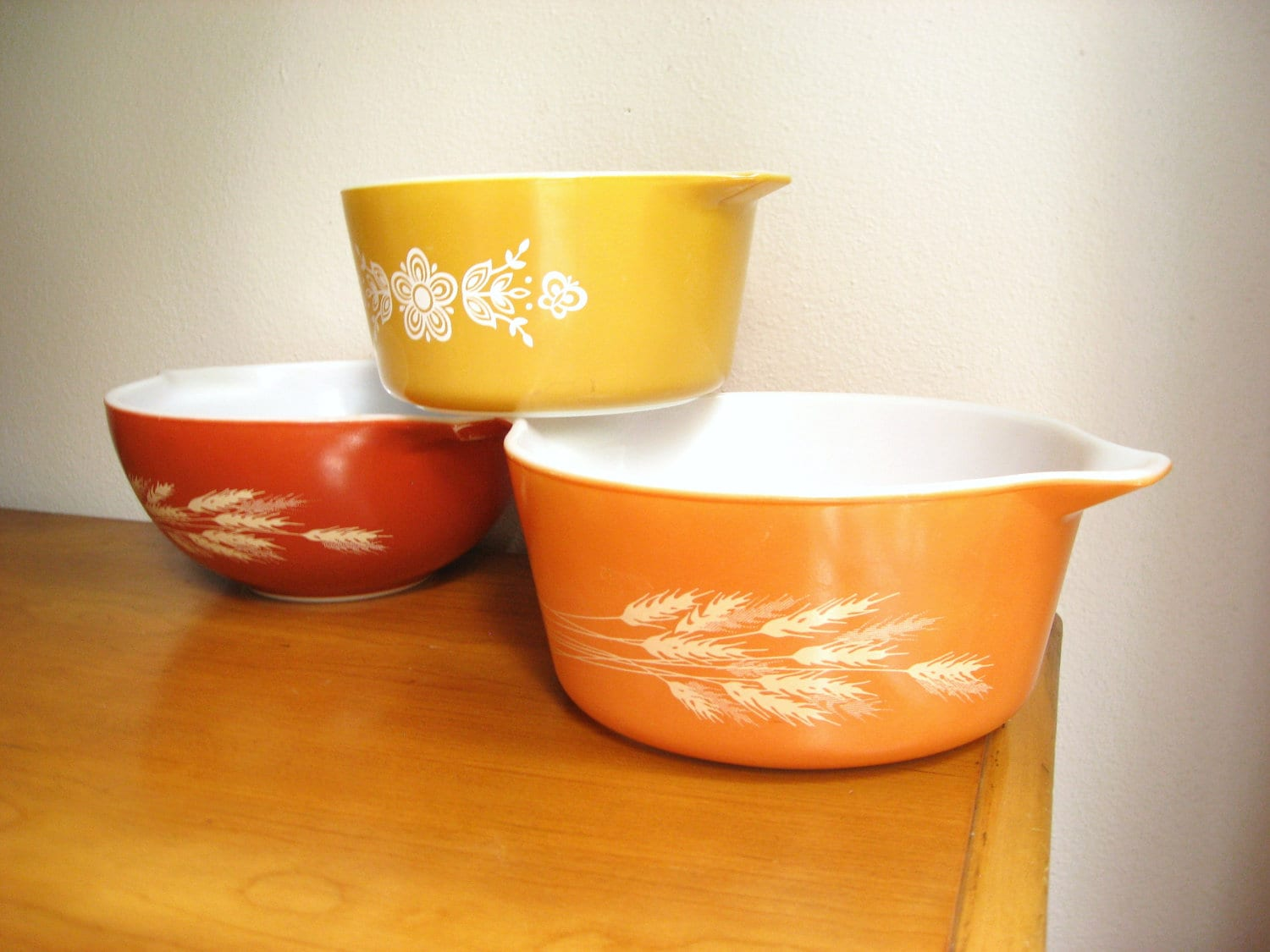 Vintage Pyrex Casserole Dishes Autumn Color By