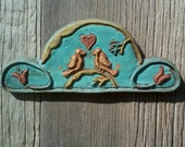 Heart, Birds & Tulips, Fraktur Sculpture, Pennsylvania Dutch Hex Sign, Folk, Plaster / Hydrostone