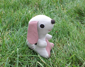 Plush Dog- Fabric Puppy-Stuffed Dog-Linen Fabric Dog-Soft Fabric Toy