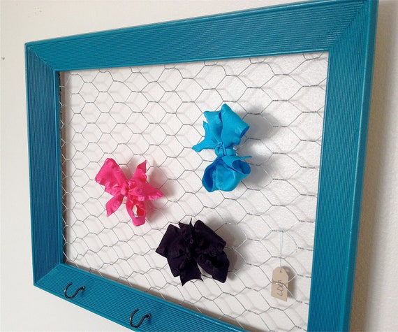 Make Your Own Jewellery Display Board: Teal Turquoise Chicken Wire Frame Hair Bow And By MonCheriShop