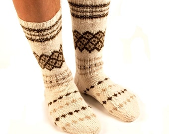 """MEN SOCKS """"Walk with Style""""  Hand knitted from natural white wool yarn.  Great for hiking."""
