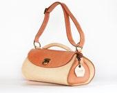 Leather tote bag , Coral leather shoulder bag , Unique  handbag , Medium size leather purse , Dalfia