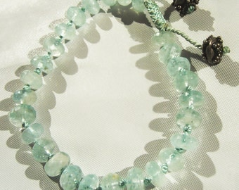 Rondelle Hand-knotted Bracelet with Silver Bead Accent