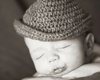 Hand Crocheted Baby Fedora Hat