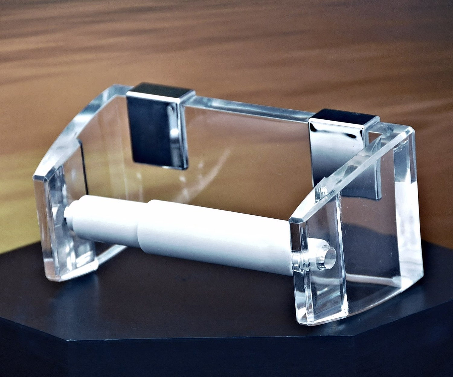 Vintage Acrylic Toilet Paper Holder Wall Mount By