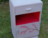 Hand Painted Cherry Blossom Vintage Side/Beside Table Cabinet with drawer Grey & Red Shabby Chic