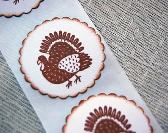 Thanksgiving Turkey Stickers/ Envelope Seals -Set of 12 (Fall/ Autumn Stickers)