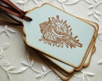 Seashell Tags, Conch Shell, Blue Summer Beach Tags -Set of 6 Gift/ Favor Tags (Beach Wedding/ Bridal Shower/ Sweet 16/ Birthday/ Scrapbook)
