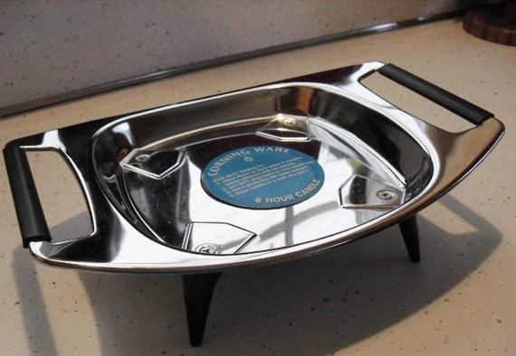 Vintage Corning Ware Chafing Dish with Candle - Chrome Warming Serving Trivet