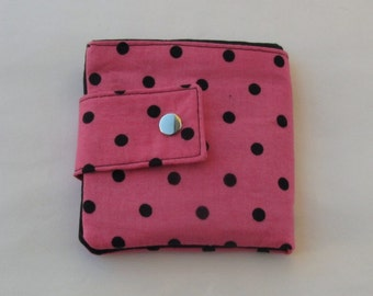 Women's Wallet, Billfold Wallet, Women's Pink and Black Polka Dot Fabric Wallet.