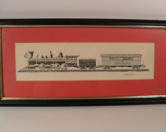 Print of Denver & Rio Grand Train by George Todd III, 1971, Original Numbered, Matted and Framed - Includes US Shipping, Insurance