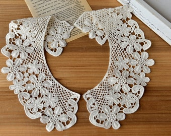 retro Cotton Lace Collar  applique, fake collar, vintage lace collar applique