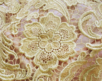 gold lace fabric, vintage lace fabric, antique lace fabric, embroidered lace,bridal lace fabric, luxury lace, crocheted lace fabric