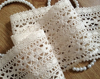 cotton Lace Trim, crocheted lace, antique lace trim, cotton crochet lace trim  CMSR009M