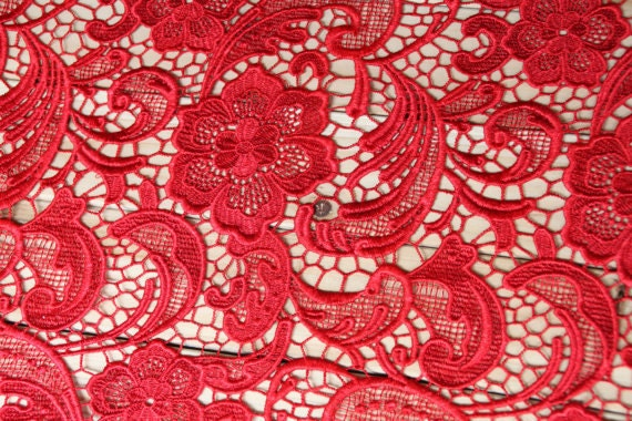 Red Lace Fabrics Embroidered Flowers Hollowed Florals Dress