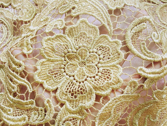 Gold Lace Fabric Vintage Lace Fabric Antique Lace Fabric