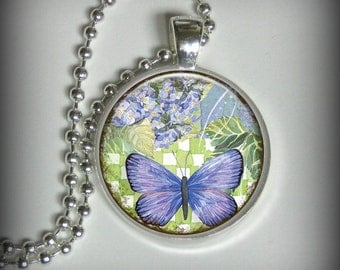 Butterfly and Hydrangea Pendant Charm, Resin Necklace, Image Pendant, Necklace Pendant (p64)