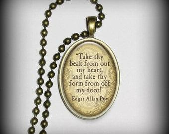 Edgar Allen Poe Pendant- Literary Pendant, Poets Pendant, Necklace Pendant (p130)