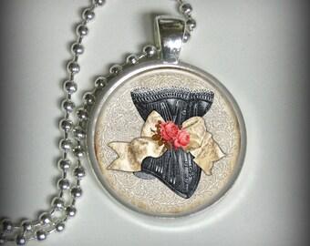 Corset Pendant Charm, Vintage Pendant, Necklace Pendant (p168)