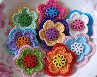 8 Crochet Flowers With Button In Multicolor  YH-106-01