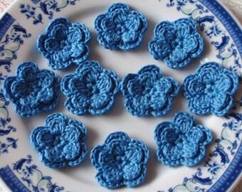 10 Crochet Flowers In Aegean blue YH-048-58