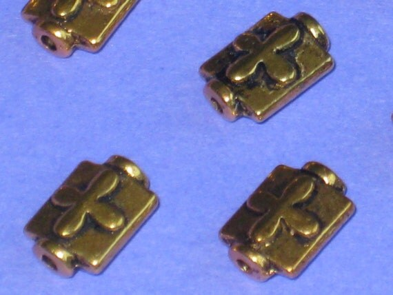 Set of 16 Antique Gold Plated Pillow/Flask Shaped Beads with an Embossed Cross