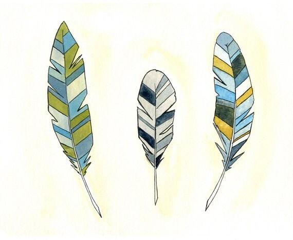 "Feather Art Print Illustration - Feather Wall Art - 8"" x 10"""