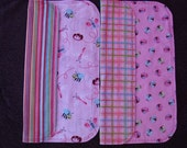 Baby Girl Burp Cloth Set of Two Burp Cloths Oversized - Soft - Flannel Pink Lady Bug Design