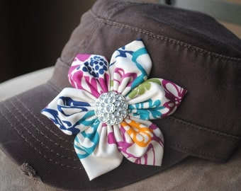 Women's cadet hat Brown multi colored Distressed Military Cadet flower hat.