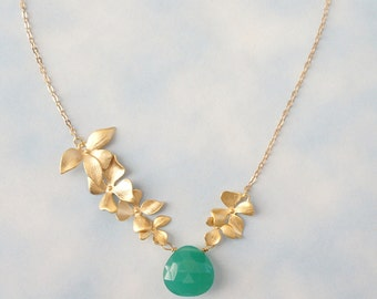 Green Opal May Birthstone and Gold Triple Orchid Necklace, Bridesmaid Gift, Mom Gift