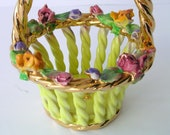 Exquisite Colorful Hand Painted Porcelain Basket - Vintage in Gold and Yellow